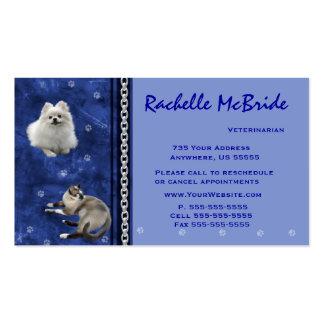 veterinario V azul de las tarjetas de visita de