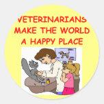veterinarios etiqueta redonda