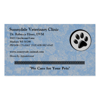 Veterinary Animal Logo with Black and White Paw Business Card
