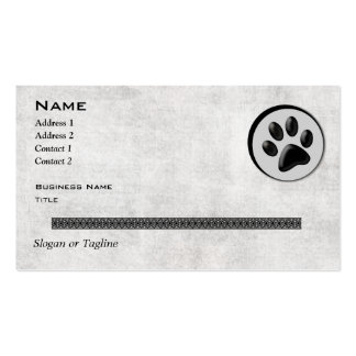 Veterinary Animal Logo with Black and White Paw Double-Sided Standard Business Cards (Pack Of 100)