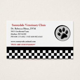 Veterinary Animal Paw Logo Checkerboard Business Card