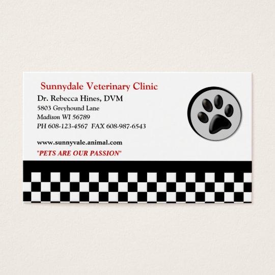Veterinary Animal Paw Logo Checkerboard Business Card