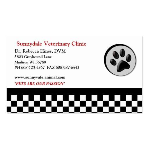 Veterinary Animal Paw Logo Checkerboard Double-Sided Standard Business Cards (Pack Of 100)