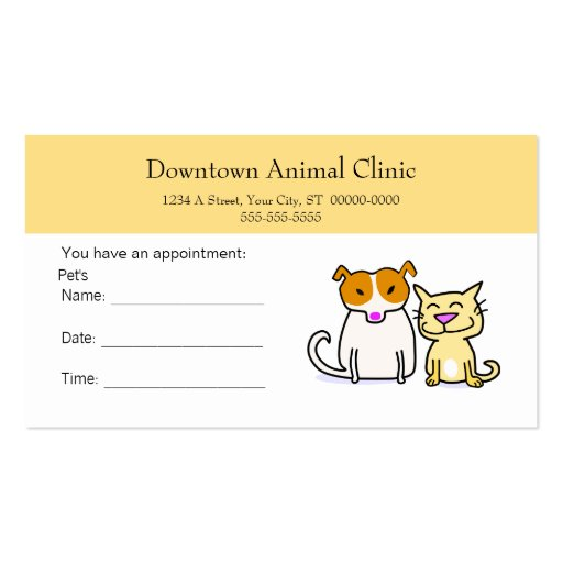 Veterinary Appointment Card Double-Sided Standard Business Cards (Pack ...