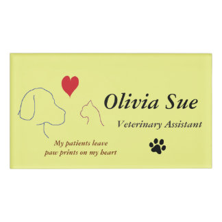 Veterinary Assistant Paw Prints On My Heart #2 Name Tag