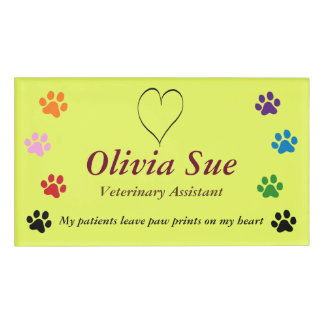 Veterinary Assistant Paw Prints On My Heart #3 Name Tag