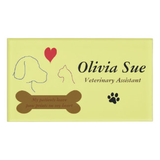 Veterinary Assistant Paw Prints On My Heart #4 Name Tag