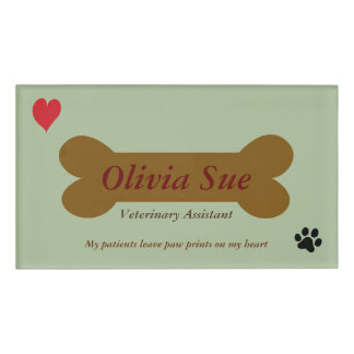 Veterinary Assistant Paw Prints On My Heart #5 Name Tag