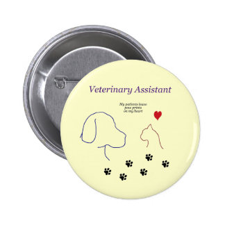 Veterinary Assistant-Paw Prints on My Heart Button