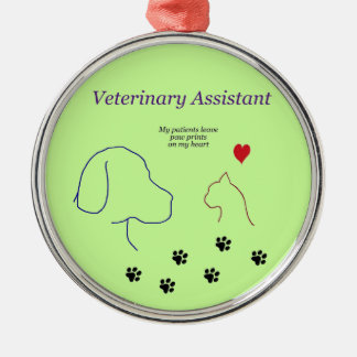 Veterinary Assistant-Paw Prints on My Heart Metal Ornament