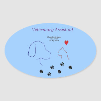 Veterinary Assistant-Paw Prints on My Heart Oval Sticker