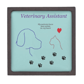 Veterinary Assistant-Paw Prints on My Heart Premium Trinket Boxes