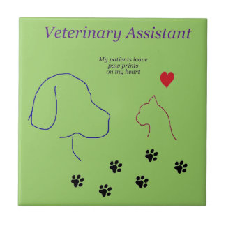 Veterinary Assistant-Paw Prints on My Heart Tile