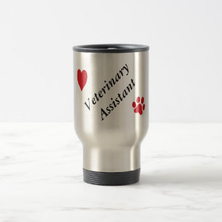 Veterinary Assistant-Red Paw Print and Heart 15 Oz Stainless Steel Travel Mug