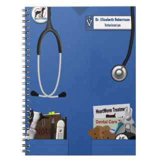 Veterinary Blue Scrubs & Pockets Design Notebook