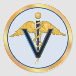 Veterinary Caduceus Classic Round Sticker