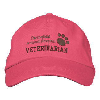 Veterinary Clinic Paw Print Embroidered Baseball Cap