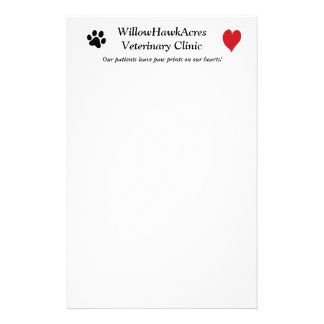 Veterinary Clinic Paw Prints on My Heart Stationery