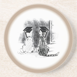 Veterinary Graduation Dog and Cat, Round Gift Drink Coaster