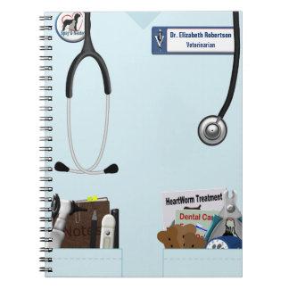Veterinary Light Blue Scrubs & Pockets Design Spiral Notebook