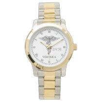 Veterinary Medicine Caduceus Symbol Custom Name Wristwatch