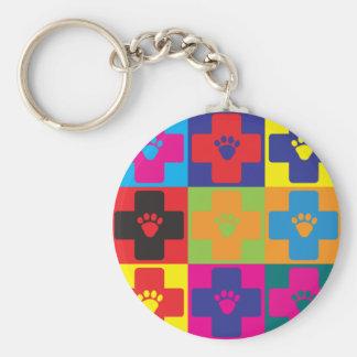 Veterinary Medicine Pop Art Keychain
