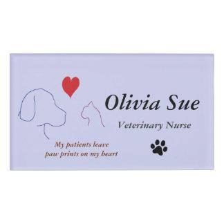 Veterinary Nurse Paw Prints On My Heart #2 Name Tag