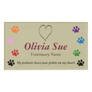 Veterinary Nurse Paw Prints On My Heart #3 Name Tag