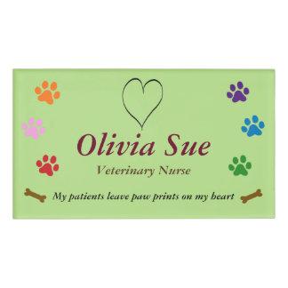 Veterinary Nurse Paw Prints On My Heart #6 Name Tag