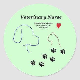 Veterinary Nurse-Paw Prints on My Heart Classic Round Sticker