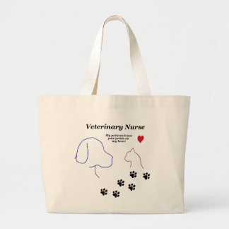 Veterinary Nurse-Paw Prints on My Heart Large Tote Bag