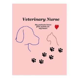 Veterinary Nurse-Paw Prints on My Heart Postcard