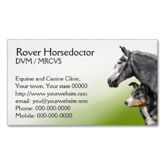 Veterinary practice horses and dogs business card magnet