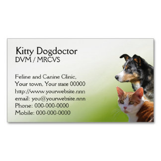 Veterinary practice pets magnetic business card