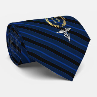Veterinary Professional Framed Monogram Blue Neck Tie