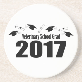 Veterinary School Grad 2017 Caps & Diplomas (Black Drink Coaster