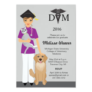 Veterinary School Graduation Invitation   Female