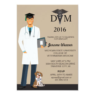 veterinary school graduation invitation male