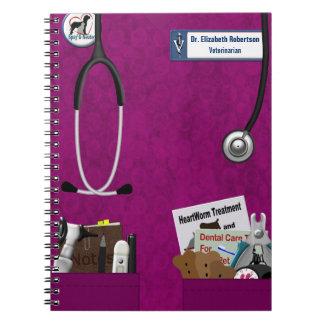 Veterinary Scrubs & Pockets Design Fushia Spiral Notebook