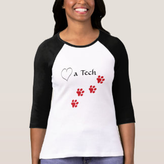 Veterinary Techincian-Love a Tech-Red Paw Prints Tshirts