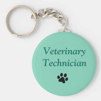 Veterinary Technician/Black Paw Print/Green Keychains