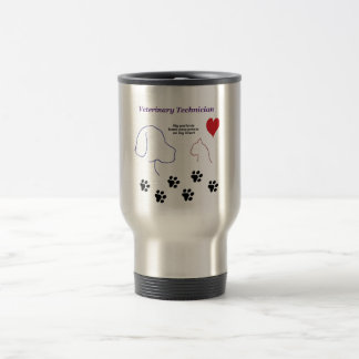 Veterinary Technician - Paw Prints on My Heart 15 Oz Stainless Steel Travel Mug