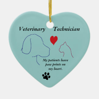 Veterinary Technician - Paw Prints on My Heart #2 Ceramic Ornament