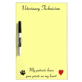 Veterinary Technician - Paw Prints on My Heart #2 Dry-Erase Board