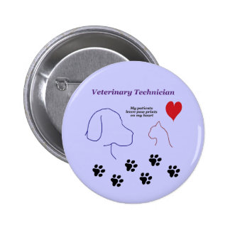 Veterinary Technician - Paw Prints on My Heart 2 Inch Round Button
