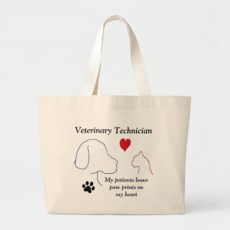 Veterinary Technician - Paw Prints on My Heart #2 Large Tote Bag