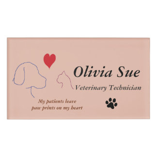 Veterinary Technician Paw Prints On My Heart #2 Name Tag