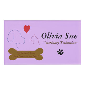 Veterinary Technician Paw Prints On My Heart #4 Name Tag