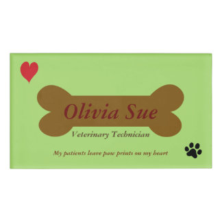 Veterinary Technician Paw Prints On My Heart #5 Name Tag