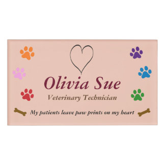 Veterinary Technician Paw Prints On My Heart #6 Name Tag